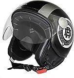 Rodeo Drive RD105N LUX casco demi jet scooter, nero - grigio