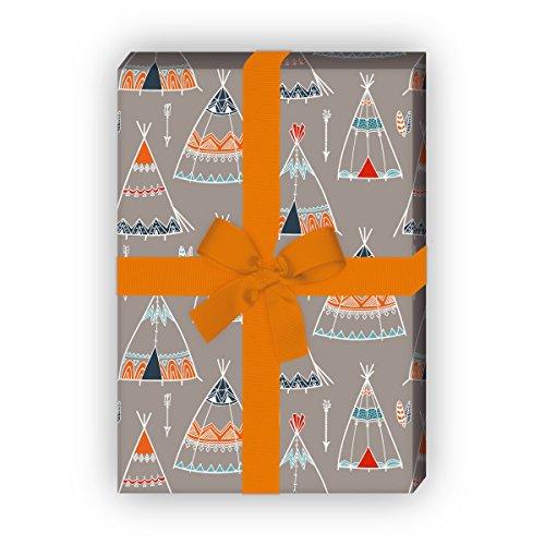 Avonturer cadeaupapierset (4 vellen) | Decoratiepapier met geschilderde tenten voor een leuke geschenkverpakking voor doop, geboorte, Pasen, verjaardag, bruiloft, Kerstmis en nog veel meer. 32 x 48 cm, grijs
