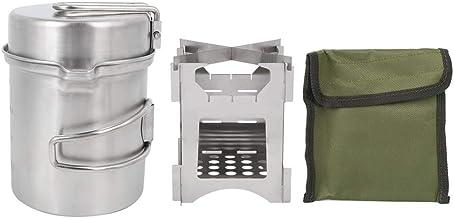 Akozon Estufa de leña para Acampar Olla portátil de Acero Inoxidable con Compartimento para Hornear para Excursionismo al Aire Libre