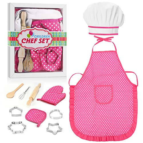 Hiwezezc Kids Apron for Girls and Boys: A Top-Dream 11Pcs Kids Cooking Supplies Includes Baking Set Chef Hat and Apron for Kids | Fun Gifts for Kids Age 3-10 Educational Birthday Toys (Pink)