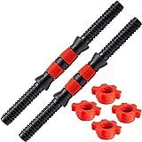 POWRX Juego de mancuernas con empuñadura antideslizante - Ideal para discos pesas con agujero Ø 25 mm - Cierres de estrella + PDF Workout (Negro/Rojo)