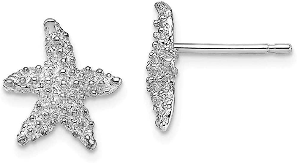 14k White Gold Textured Starfish Post Stud Earrings Ball Button Animal Sea Life Fine Jewelry For Women Gifts For Her