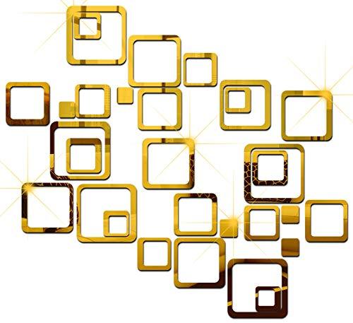 Look Decor 30 6 tamaños cuadrados de oro (B09365ZTGP) 3D etiqueta engomada acrílica, 3D pegatinas de pared de espejo, 3D decoración de pared artículos para el hogar y la oficina.