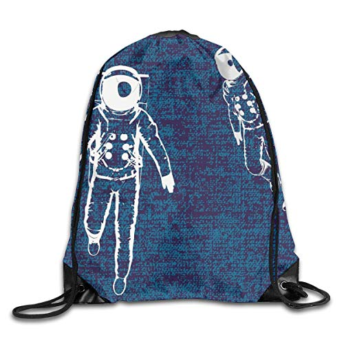 Drawstring Backpack Sports Gym Bag for Women Men, D0518 Two Astronauts Floating In Blue Space Drawing Universe Emptiness