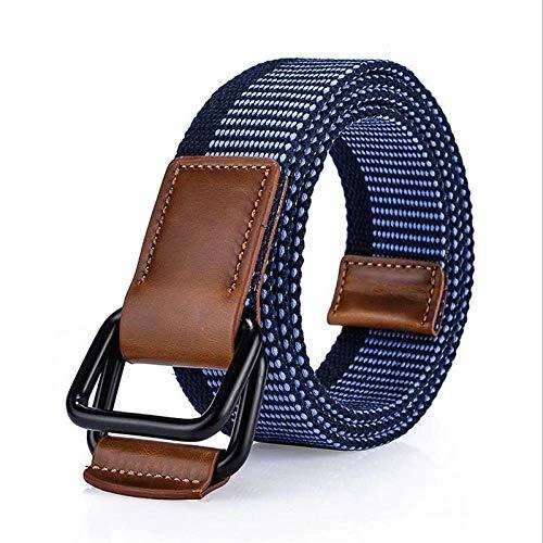 FDDSSYX Cinturón Lona,Cinturón De Lona para Hombre Azul Oscuro Hebilla De Doble Anillo con Cinturón De Jeans Cinturones Tácticos del Ejército para Hombres Correa Masculina Mujeres