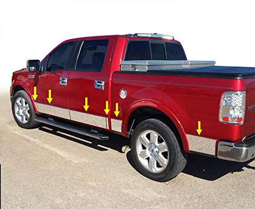 Made in USA! Compatible with 2004-2008 Ford F150 Crew Cab 5.5' Short Bed W/Fender Flare Rocker Panel Chrome Stainless Steel Body Side Moulding Molding Trim Cover 7' Wide 12PC