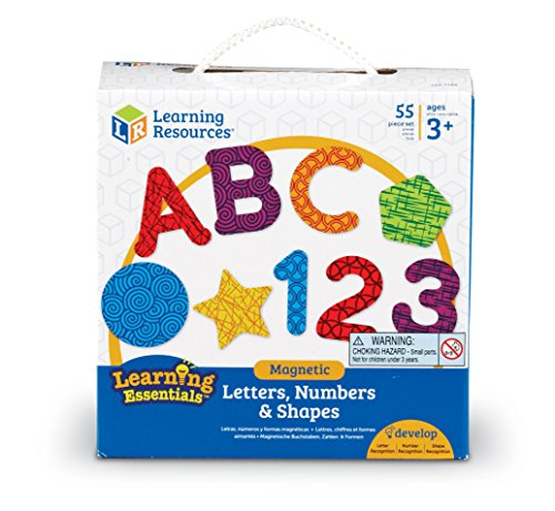 Learning Resources Magnetic Letters, Numbers & Shapes, Classroom Accessories, 55 Pieces, Ages 3+,