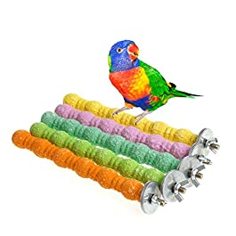 Mentin Large Bird Toys Chew Parrot Grinding Colored Emery Stand Cage Cockatiel Parakeet