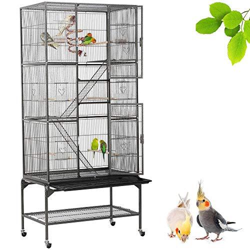 Yaheetech Grande Cage Oiseaux Voliere avec Pied sur Roulette 81 x 46,5 x 175,5 cm