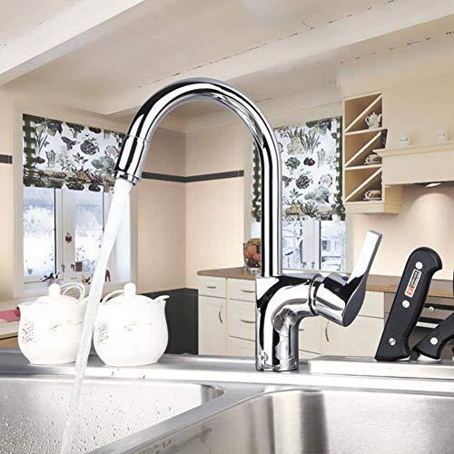 Bijzondere eigenschap keukenkraan van gepolijst chroom gemonteerd op het handvat eengreepsmengkraan voor koud en warm water.