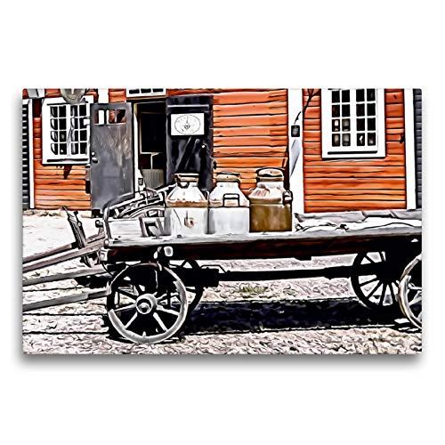 CALVENDO Premium Textil-Leinwand 75 x 50 cm Quer-Format Alter Milchkarren, Leinwanddruck von Sonja Teßen