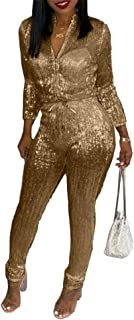 Remelon Womens Sexy V Neck Glitter Long Sleeve Zipper Drawstring Bodycon High Waisted One Piece Jumpsuits Rompers
