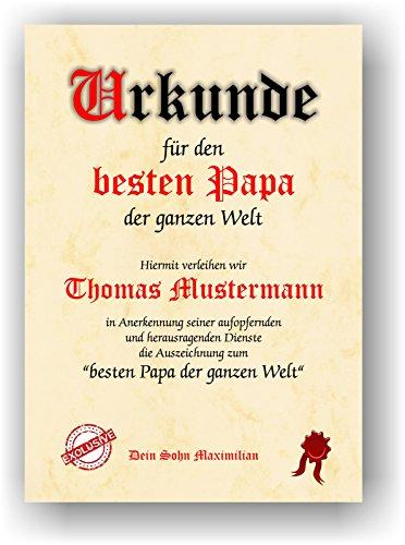 Urkunde bester PAPA der Welt - personalisierte Geschenk Karte lustige Geschenkidee mit Namen