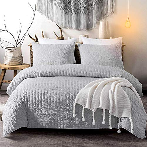 Cozyholy Seersucker Duvet Cover Set 3 Pieces Nature Style Water-Washed Microfiber Bedding Set with Zipper and Corner Ties (Light Grey, King)