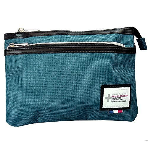 バッグ サコッシュ ショルダーバッグ 9155 ターコイズブルー 3ルーム ミニショルダー ウエストバッグ 斜め掛け クラッチバッグ キャンバス PALLAS DESIGN (ターコイズブルー)