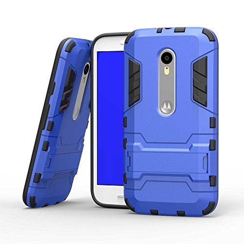 Tasche für Motorola Moto G 3 Generation Hülle, Ycloud das stärkste Handy Shock Proof Armor Dual Schutzabdeckung Hochfeste PC Kunststoffoberschale Shockproof mit Halterung Schutzabdeckung Blau