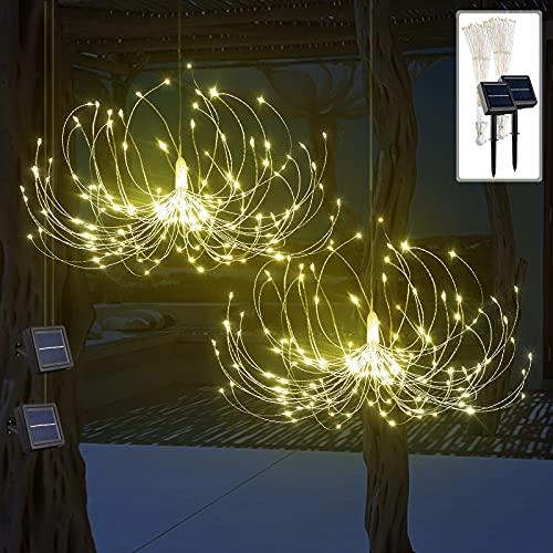 VILLTAK Solar Garden Lights 2 Pack, 180 LED Outdoor Decorative Solar Firework Lights, Hanging Fairy Chandelier, Solar Powered String Lights, DIY Starburst Lights for Wall Yard Pathway (Warm White)
