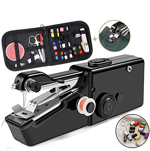 TooFu Hand-held Portable Electric Sewing Machine Set, Mini Household Hand-held Electric Sewing Machine with Free Sewing Kit (Black)