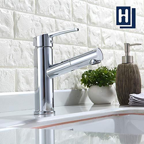 Homelody Wasserhahn Bad Armatur Waschtischarmatur Mischbatterie mit ausziehbarem Brause für Waschtisch/Waschbeken
