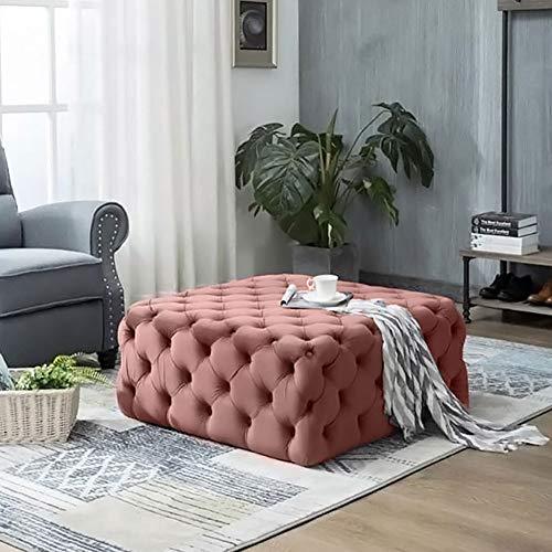 Warmiehomy Moderner Chesterfield Couchtisch-Fußhocker mit tiefem Knöpfen, Samt, Ottoman-Sitz, Sitz für Wohnzimmer (Rosa, quadratisch, 70 x 70 x 40 cm)
