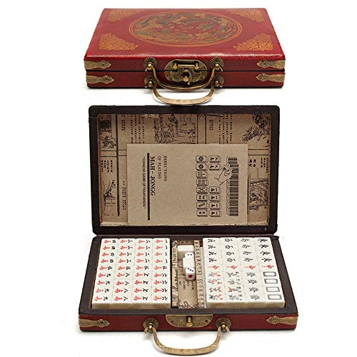 Leeofty China Nummer Retro Mahjong Set 144 Watt Mahjong Set Tragbares chinesisches Spielzeug mit antiker Lederbox
