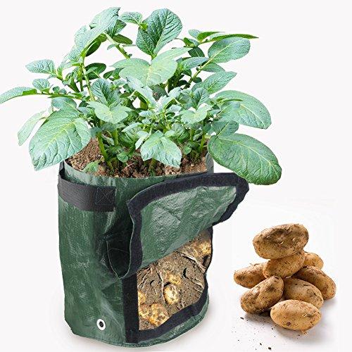 HTINAC 2 Pcs Sacs à Plantes pour Pommes de Terre,Sacs Jardinière à Plantes Imperméable en Tissu, Sac de Plantation avec Rabat pour Carottes, Pommes de Terre,Oignons et Patate Douce(34x35cm)