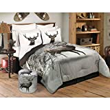 Comforter 3 Piece Set King Deer in Snowy Forest Grey Animal Print Modern Contemporary