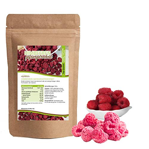 Mynatura gefriergetrocknete Himbeeren I Früchte I Trockenobst I Raspberry I Müsli - schonend getrocknet - (1 x 500g)