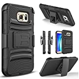Circlemalls Compatible for Galaxy S7 Edge Case, [Not Fit Galaxy S7 / S7 Active] with [Tempered Glass Screen Protector Included], Armor Heavy Duty Kickstand Cover with Belt Clip Holster - Black