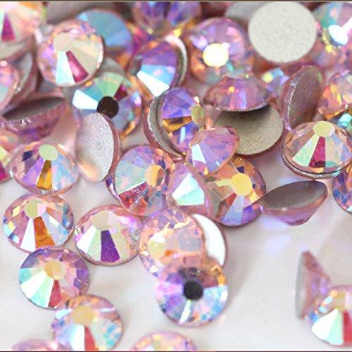 Crystal AB/Crystal Flatback Glass Rhinestones Glue Fix (ss16 (4mm) 1440 pcs, Light Rose AB)