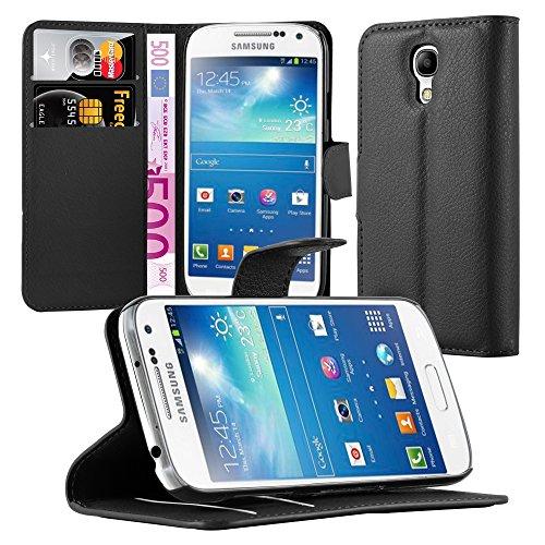 Cadorabo Funda Libro para Samsung Galaxy S4 Mini en Negro Fantasma - Cubierta Proteccíon con Cierre Magnético, Tarjetero y Función de Suporte - Etui Case Cover Carcasa