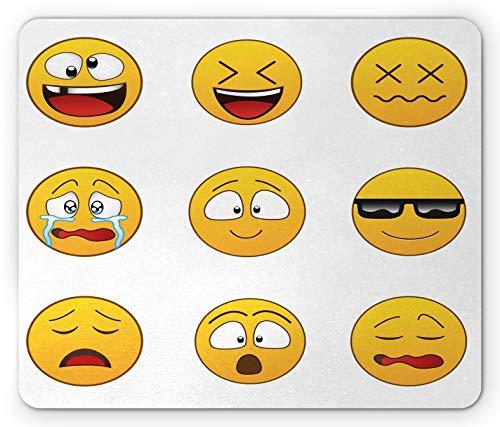 Emoji Mouse Pad, Happy Smiling Angry Furious Traurige Gesichtsausdrücke mit Brille Stimmungen Cartoon wie Druck, Rechteck rutschfestes Gummi-Mauspad, Standardgröße, Gelb