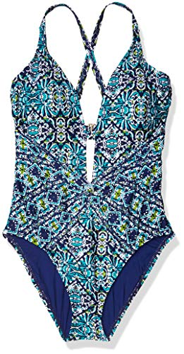 La Blanca Women's Delux Bra Cup Twist Front One Piece Swimsuit, Navy/Light Blue/Green, 16W