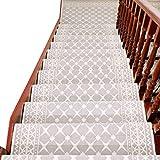 Alfombra huellas de escalón Conjunto de 7 antideslizante Escalera alfombra Alfombras Skid Silica Gel Runner esteras o alfombras banda de rodamiento interior para mascotas perros Escalones Pads,Beige