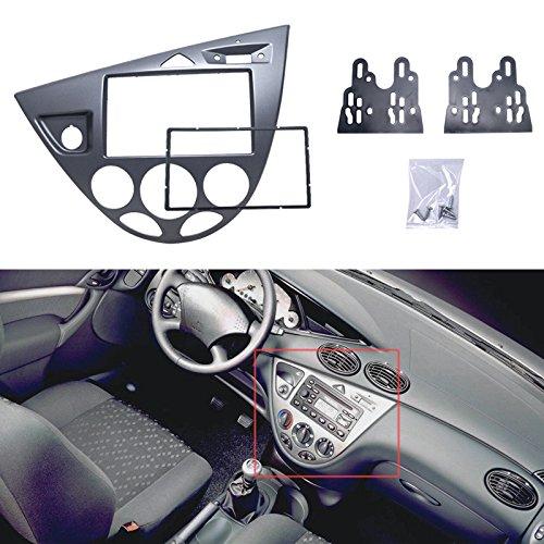 Feeldo 2DIN radio Panneau Façade d'autoradio stéréo de voiture Gris Refitting Dash Trim Kit