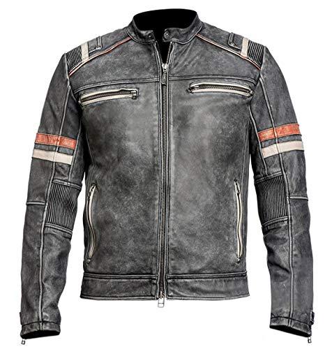 Mens Biker Cafe Racer Retro 2 Motorcycle Vintage Distress Moto Racing Leather Jacket, X-Large