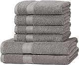 AmazonBasics Handtuch-Set, ausbleichsicher, 2 Badetücher und 4 Handtücher, Grau