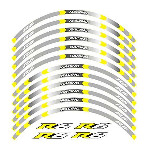 Calcomanía de la Raya del Borde de la Rueda para Yamaha ZYF R6 Motocicleta de Las calcomanías de la Rueda 17inch Reflective Stickers Rim Stripes ZYF R6 Motorbike YZF R6 (Color : B Yellow)
