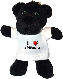 Shopzeus Pantera Negro de Peluche (Llavero) con Amo Epifanio en la Camiseta (Nombre de Pila/Apellido/Apodo)