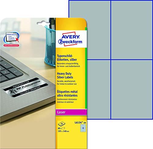 AVERY Zweckform L6134-20 Typenschild Folienetiketten (105x148 mm auf DIN A4, extrem stark selbstklebend, wetterfeste bedruckbare Klebefolie) 80 Aufkleber auf 20 Blatt silber