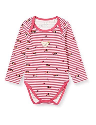 Steiff Baby-Mädchen mit süßer Teddybärapplikation Body Langarm, Carmine, 086