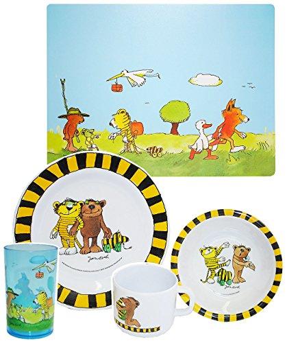alles-meine.de GmbH 5 TLG. Geschirrset:  Janosch / Tigerente - Tiger & Bär - Melamin Set - Henkelbecher + Teller + Müslischale + Platzdeckchen + Trinkbecher - Kindergeschirr - ..