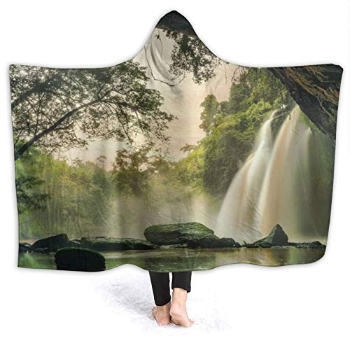 SUGARHE Tragbare Hoodie Decke,Natur Wasserfall Canyon Höhlen Blick auf Waldfälle...