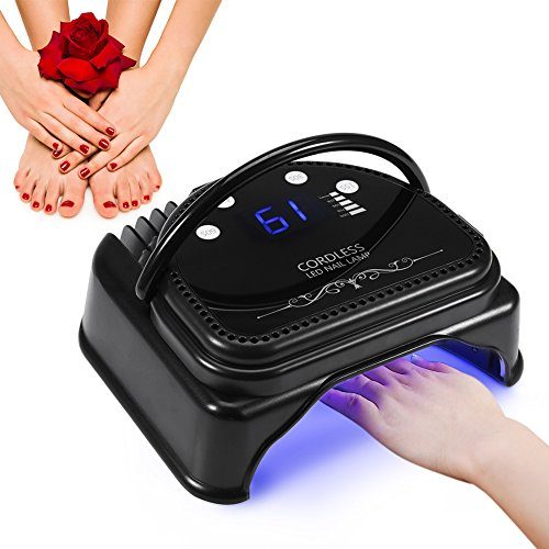 ZJchao 64W Nail Polish Dryer, 32pcs LED Professional Gel Nail Lamp with Quick Curing UV Light Cordless Rechargeable Smart Sensor Manicure Tools (Senior Style)