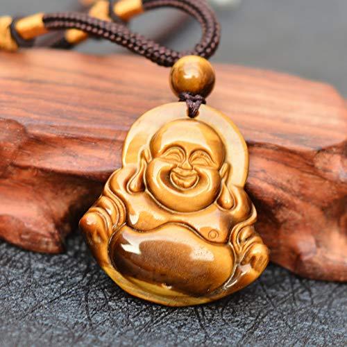 Natural Yellow Tiger Eye Stone Pendant Carved Maitreya Buddha Laughing Buddha Pendant Necklace Stone Jades Jewelry