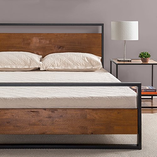 Zinus Suzanne Metal and Wood Platform Bed with Headboard and Footboard / Box Spring Optional / Wood Slat Support, King