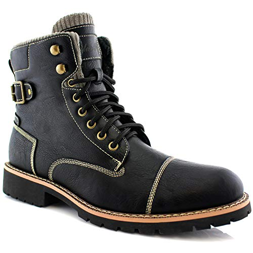 Polar Fox Brady MPX508571 Mens Casual Classic Combat Fur Lined High-Top Motorcycle Boots – Black, Size 10.5