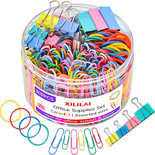 Paper Clips Binder Clips, Colored Office Clips Set - Assorted Sizes Paperclips Paper Clamps Rubber Bands for Office and School Supplies, Document Organizing