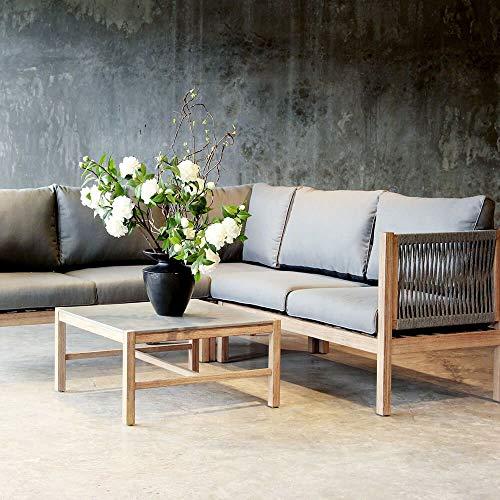 Gartentraum Robuste Lounge Sitzgruppe aus Grandis-Holz - Kalyptos Lounge / 84x218x288cm (HxBxT)