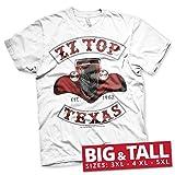 ZZ-Top Oficialmente Licenciado Texas 1962 3XL,4XL,5XL Camiseta Para Hombre (Blanco), 3X-Large